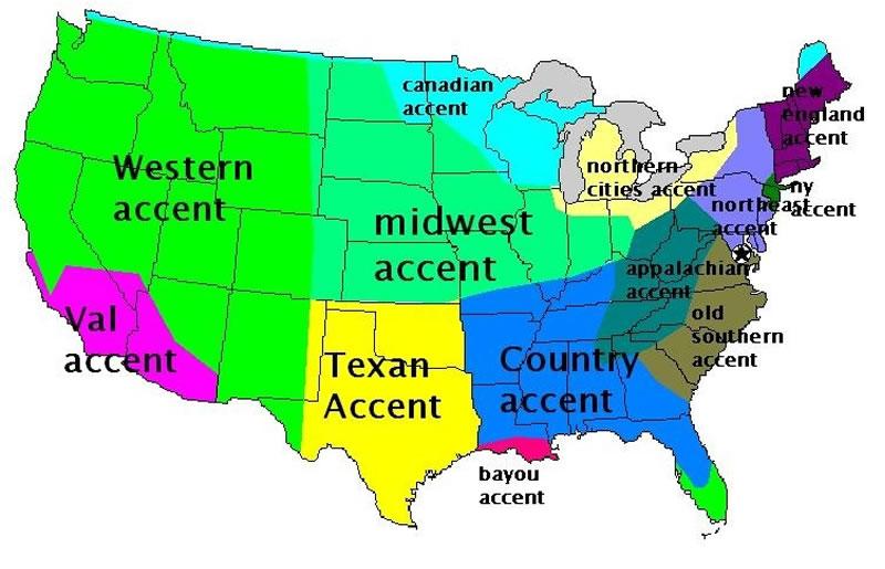 acentos de inglés en USA